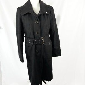 Kenneth Cole Black Wool Blend Overcoat Womens 14
